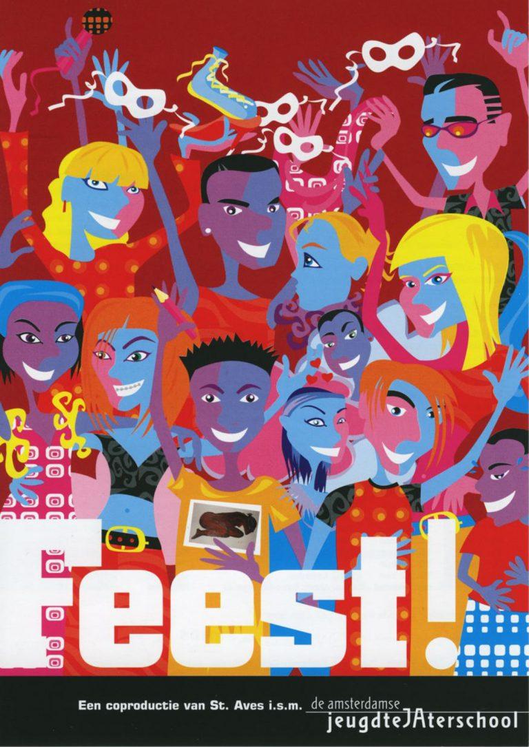 flyer AJTS FEEST! 2003 ontwerp en illustratie flyer A5 en poster A2