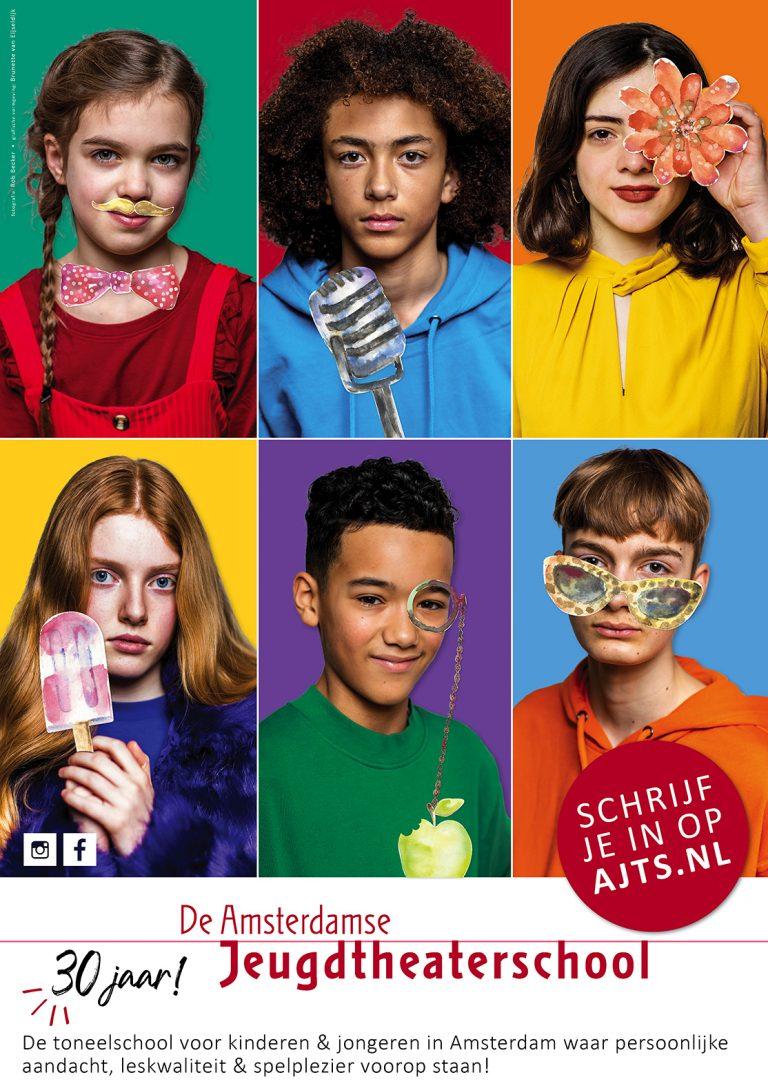 ontwerp en illustratie flyer & affiche Amsterdamse Jeugdtheaterschool;  affiche A2; 2020