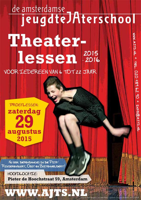 flyer Amsterdamse JeugdteJAterschool; ontwerp en illustratie flyer A5 en affiche A2; 2015