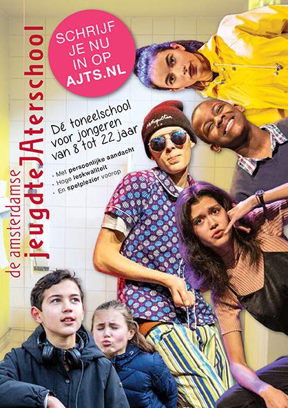 flyer Amsterdamse JeugdteJAterschool; ontwerp en illustratie flyer A5; 2018
