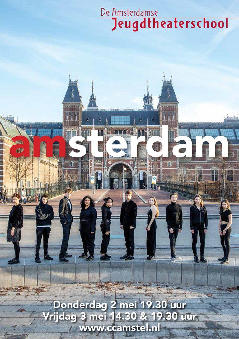 Ontwerp & uitvoering flyer A5 & affiche A2 productieklas AJTS; Amsterdam; 2019