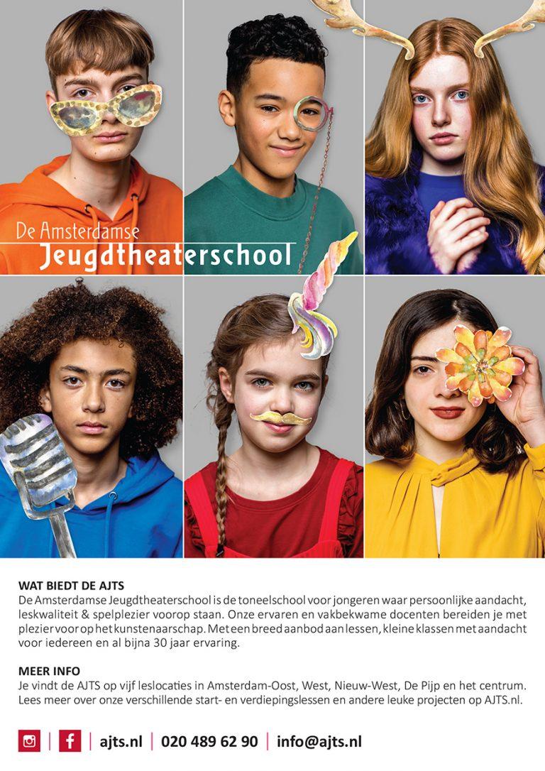 ontwerp en illustratie flyer & affiche Amsterdamse Jeugdtheaterschool; flyer A5; 2020