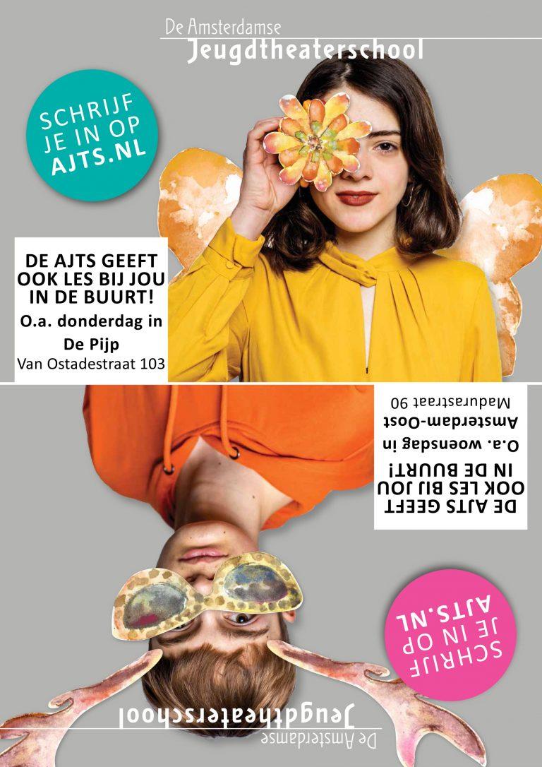 flyer Amsterdamse Jeugdtheaterschool; ontwerp en illustratie 3 x flyer A5; 2019