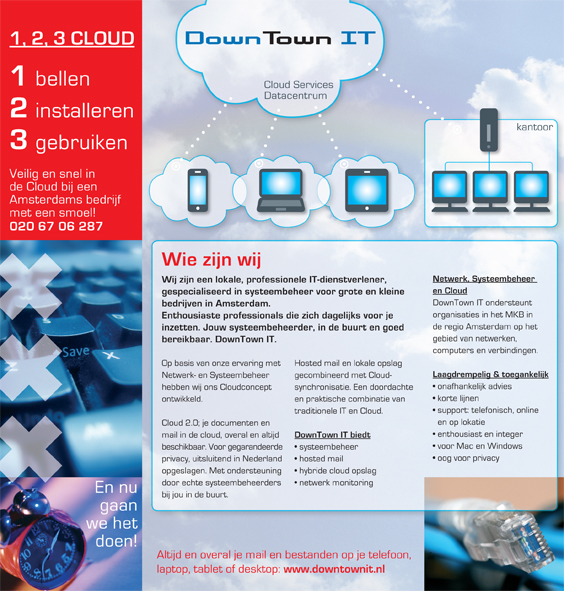 ontwerp en uitvoering brochure DownTownIT; 2014